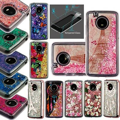 official photos 9bcc5 2b778 FOR MOTOROLA MOTO E4 Case +TEMPERED GLASS/ Quicksand Clear Liquid Glitter  TPU
