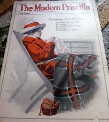 VTG 1910s MODERN PRISCILLA NEEDLECRAFT MAGAZINE KNIT CROCHET SEWING CATALOG 1916