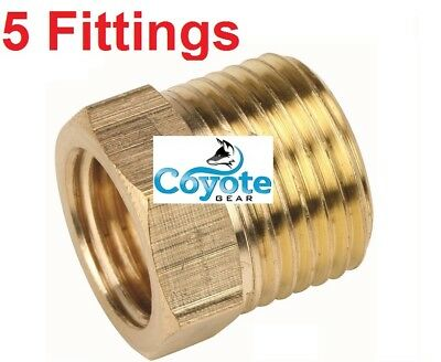 "5 Pack Lot Size: 1/2"" x 3/8"" Brass Reducing Bushing Fitting Quantity Fittings"