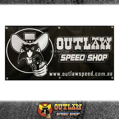 Outlaw Speed Shop Banner 1200Mm X 600Mm Black & White - Outlaw-Bnr1200Bw