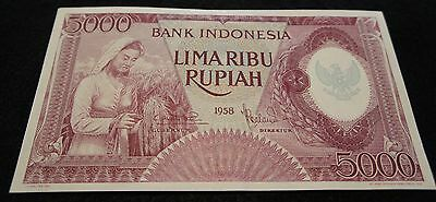 1958 Bank Indonesia 5000 Lima Ribu Rupiah Note in UNC Condition Extremely Nice!