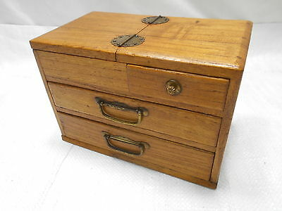 Antique Kiri Wood Sewing Box Japanese Small Drawers C1920s #673