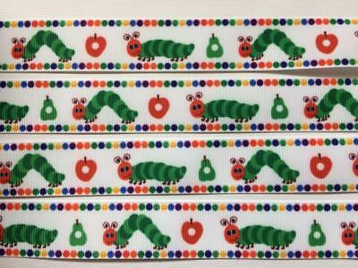"BB Ribbon HUNGRY CATERPILLAR with spot border  2m grosgrain 7/8"" 22mm"
