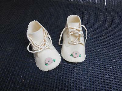 Antique FELT BABY INFANT SHOES Booties Pink Flower Laces Old Vtg Doll