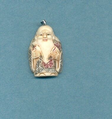 Fortune God W Peach  Pendant Hand Carved Scrimshaw Painted Silver Bail 753