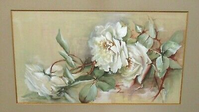 Old 19Th Century Original Watercolor White Roses Painting Unsigned