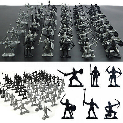 60pcsset Medieval Knights Warriors Soldiers Figure Models Black Silver Kids Toy