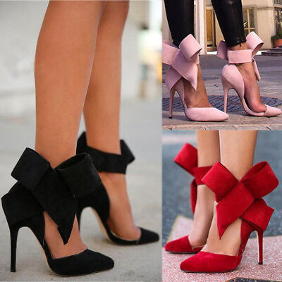 Womens Stilettos High Heels Pointed Toe Bowknot Slim Pumps Evening Party Shoes