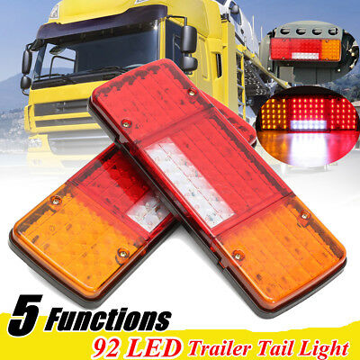 2x 12V  REAR TAIL STOP INDICATOR Lights Lamp Trailer Caravan Truck Lorry 92 LED