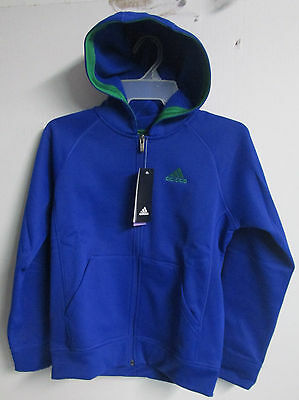 Adidas Boys Hoodie Jacket Front Zip Up Size-M-10/12 Color Roya/Green Boys