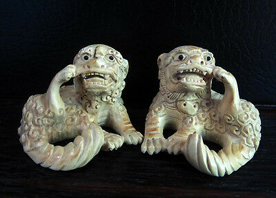"Y3748 --- 2"" Hand Carved Boxwood Netsuke - Pi Xiu Pair"