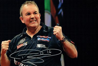Phil The Power TAYLOR Signed Autograph 16 Darts Champion 12x8 Photo A AFTAL COA