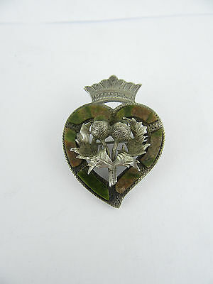 Large Scottish Silver & Hardstone Luckenbooth Heart & Crown Brooch, Chester 1913