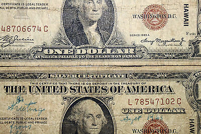 Pair of 1935A US War Time Silver Certificates with HAWAII Overprint (NUM3214)
