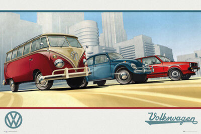Classic Volkswagen Cars BRAVE NEW WORLD Art Deco Futurist Style Wall POSTER