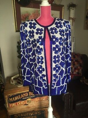 ❤️❤️ 80s Electric Blue Beaded Silk Moonlite NY Party Boyfriend Jacket L