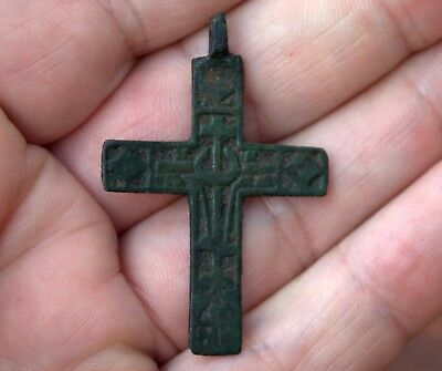 Large Old Very Detailed Medieval Middle Ages Bronze Cross Pendant Artifact