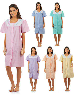 Casual Nights Women's Short Sleeve Snap-Front Lounger Duster House Dress Robe