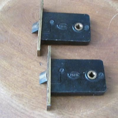 2 Matching Antique Cast Iron Corbin Mortise Locks, 2 1/4 by 3 1/2 Dustbox