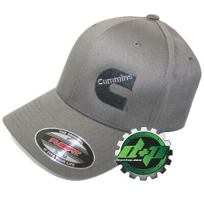Cummins hat ball cap fitted flex fit flexfit stretch cummings dark gray grey s/m