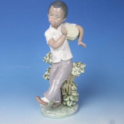 Lladro Porcelain Figure - Black Legacy Bongo Beat - Young Black Boy - #5157