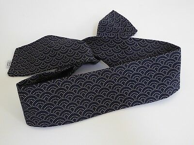"Japanese Hachimaki Headband Sushi Chief, Sports Seigaiha Shell Print Navy/ 37""L"