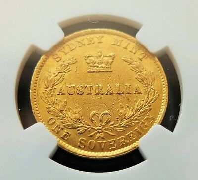 1866 Gold Ngc Certified Au55, Australia Sydney Mint Full Sovereign Coin Lot #189