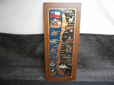 Old Vtg COPPER MAP OF CHILE Wall Hanging Plaque Decor Metal Arts