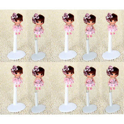 10Pcs Metal Doll Stand for Doll Teddy Bear Display Plastic Base White