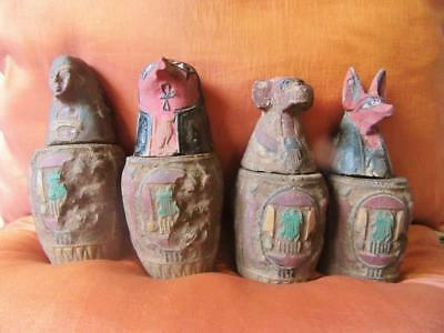 RARE Antique Collection Set Egyptian Ancient Canopic Jars Organs Storage Statues
