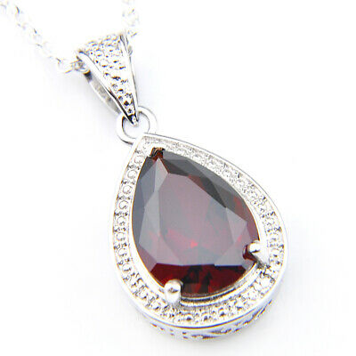 High Quality Fashion Fire Red Garnet Gems Silver Necklace Pendant 2 1/2 Inch