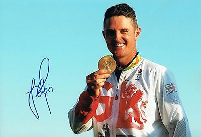 Justin ROSE SIGNED 12x8 Photo AFTAL 2 Autograph COA Golf GB Olympics Gold Medal