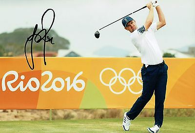 Justin ROSE SIGNED 12x8 Photo AFTAL 3 Autograph COA Golf GB Olympics Gold Medal