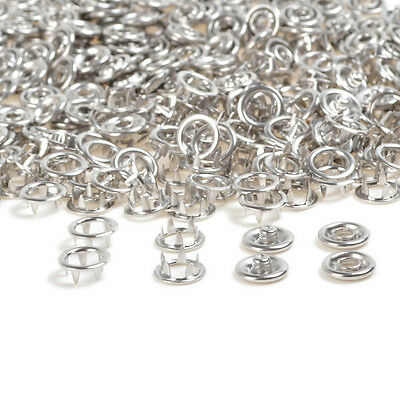 100 Sets Silver 9.5mm Prong Ring Snap Fasteners Press Studs Dummy Clips Bibs AU