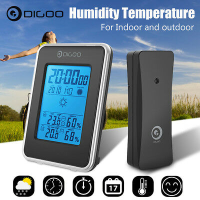 Digoo Blue Backlit Weather Station Indoor & Outdoor Hygrometer Thermometer Clock