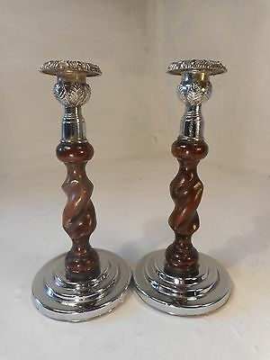 Vintage pair of Oak  Candlesticks  ref 3006