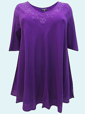 afaef19e790 Eaonplus PURPLE Embroidered Trim Curved Hem TunicTop - Size 18 to 32 NEW