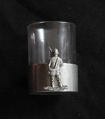 Fisherman Stood Shot Glass Pewter Based Round 50ml Fishing Gift