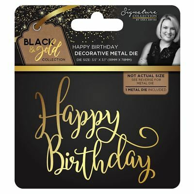 Sara Davies Black and Gold Signature Collection - Happy Birthday Metal Craft Die