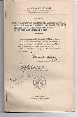 1917 Family Allowances, Allotments, Compensation Military Naval Forces