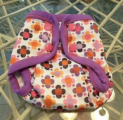 WAHM / Preemie Cloth Diaper COVER / 4 - 9lbs / Purple Flowers