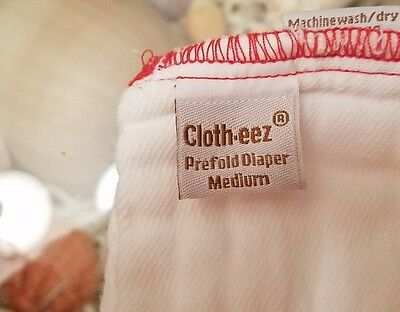 GMD Green Mountain Diapers Clotheez Bleached Medium Red Edge Prefolds 12ct