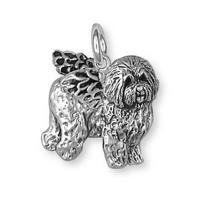 Solid Sterling Silver Old English Sheepdog Angel Charm Jewelry OE3A-C