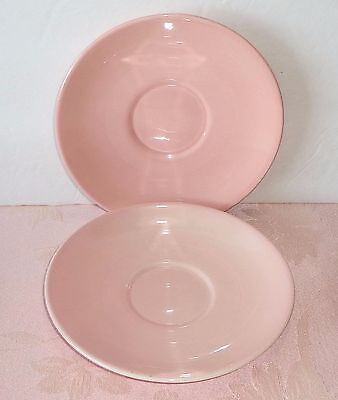 "Vintage TST Taylor Smith & Taylor Lu-Ray Pastels SHARON PINK 2 Saucers 6"" LuRay"