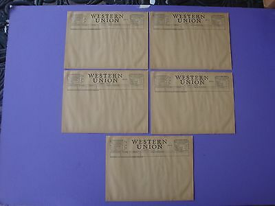 Lot of 5 Unused Blank 1951 Western Union Telegram Sheets Pages Original
