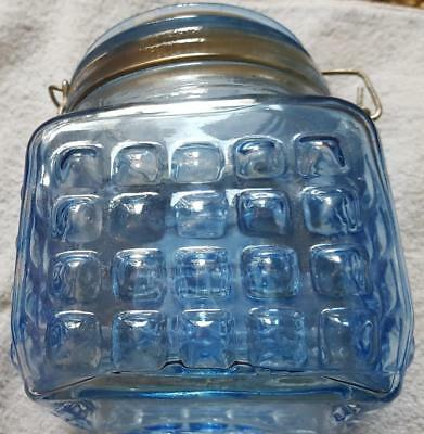 Pretty Vintage Blue 5 inch Square Textured Glass Jar w Wire Bale Glass Lid