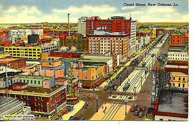 Aerial View-Canal Street-Trollies-Modern New Orleans-Louisiana-Vintage Postcard