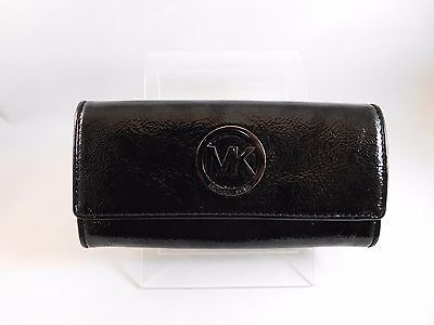 78fca4ce7360 Michael Kors Fulton Black Patent Leather Carryall Flap Continental Wallet