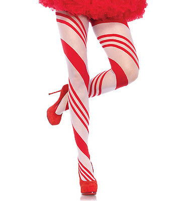 Holiday Candy Striped Pantyhose - Red and White - Christmas Stockings fnt