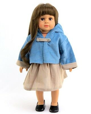 """Blue Corduroy Jacket and Tan Dress made for 18"""" American Girl Doll Clothes New"""